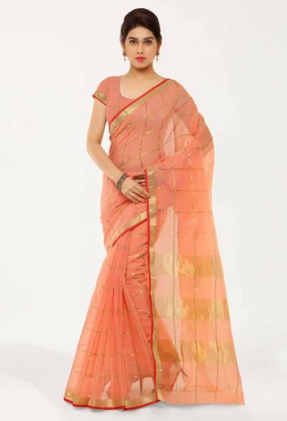 kvsfab Printed, Striped Fashion Cotton Blend Saree
