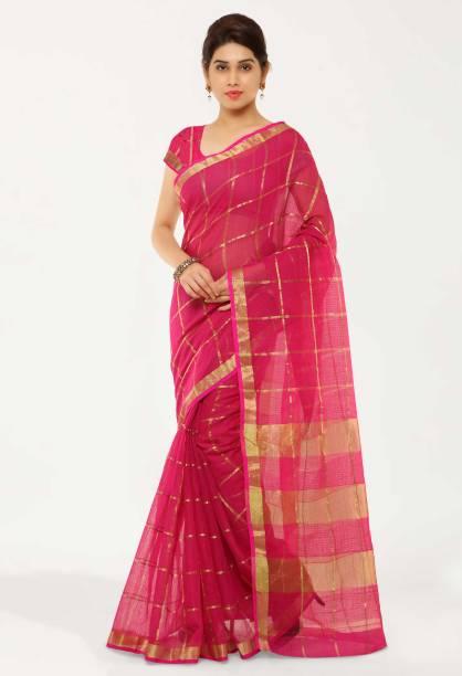 kvsfab Woven, Self Design, Striped Fashion Cotton Blend Saree