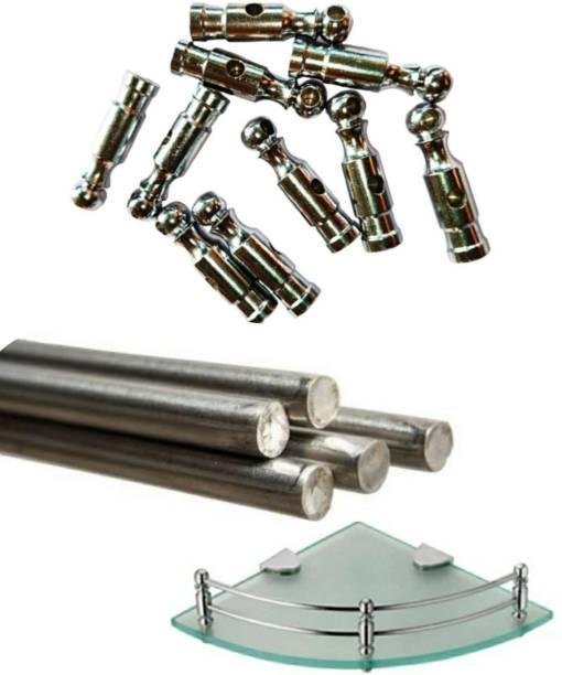 max deals Corner Shelf Pillar/Thambli 30 Pcs and 2 Ft 4 mm Soft Steel Rod 5 Pcs for Wall Mount Storage Rack/Bathroom Shelf/Kitchen Shelf etc. 60 Shelf Bracket