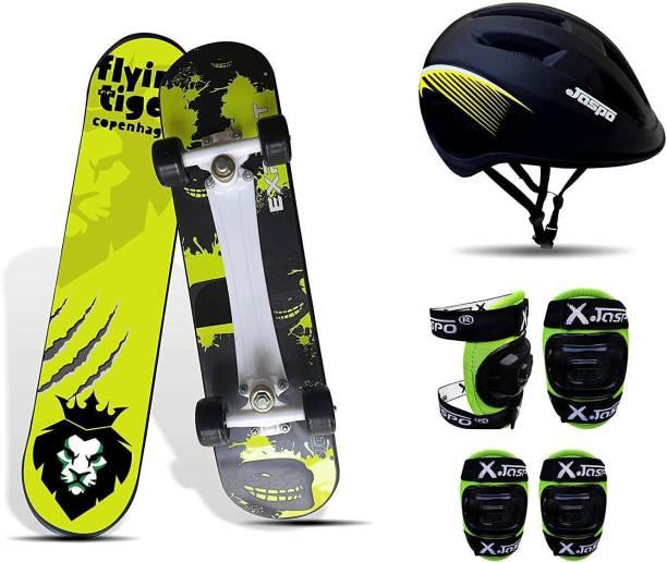 "Jaspo Experts Intact Combo 26""x 6.25"" Anti Skid Skateboard with Helmet, Knee & Elbow Guard Skating Kit"