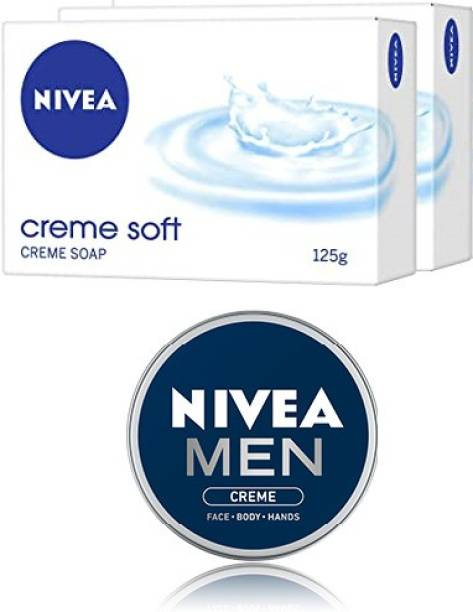 NIVEA Creme Soft Soap, 125gm,Pack of 2 With Men Crème 75ml