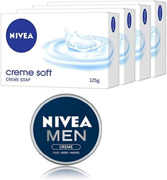 NIVEA Creme Soft Soap, 125gm,Pack of 4 With Men Crème 75ml