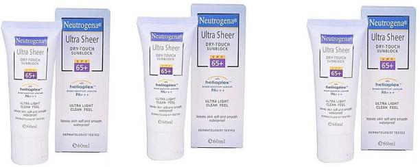 NEUTROGENA Ultra Sheer Dry-Touch Sunscreen - SPF 65+ 60ml- (Pack of 3) - SPF 65 PA+++