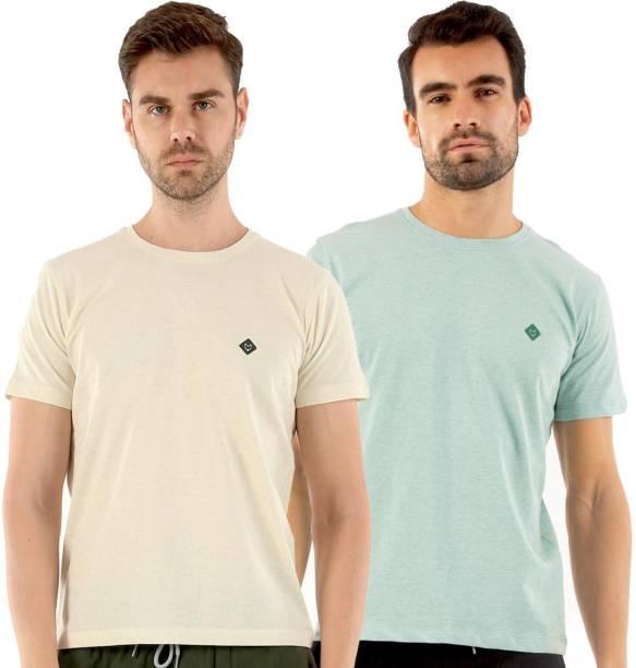 Almo Wear Solid Men Round Neck White, Green T-Shirt