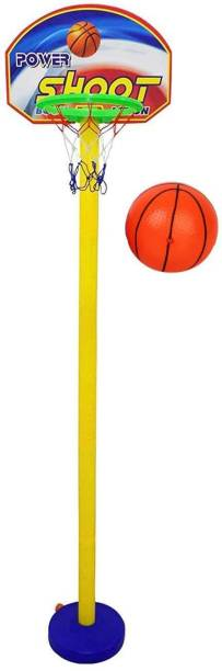 Synlark Kid's Plastic Basket Ball Kit with 5 Level Adjustable Stand Game for kids Multicolor Basketball