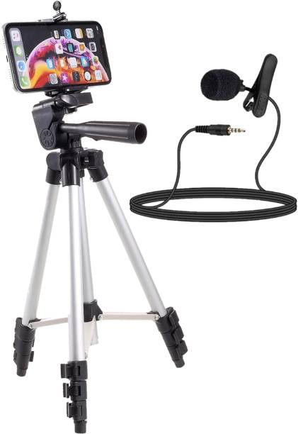 neojon Portable and Foldable 3110 Tripod Stand & Holder Tripod Kit For Mobile Phone and Camera's (DSLR) With Collar Microphone kit with voice Recording Filter Mic. For Recording Singing YouTube videos (2in1 combo pack) Monopod Kit, Monopod, Tripod Kit, Tripod, Tripod Ball Head