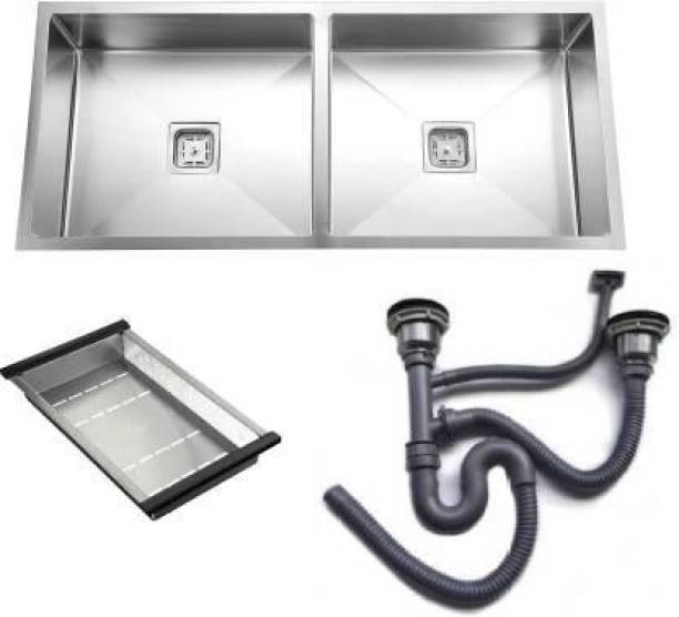 """Torofy (37""""x18""""x10""""Inch) Stainless Steel Double Bowl Hand Made Kitchen Sink Vessel Sink"""