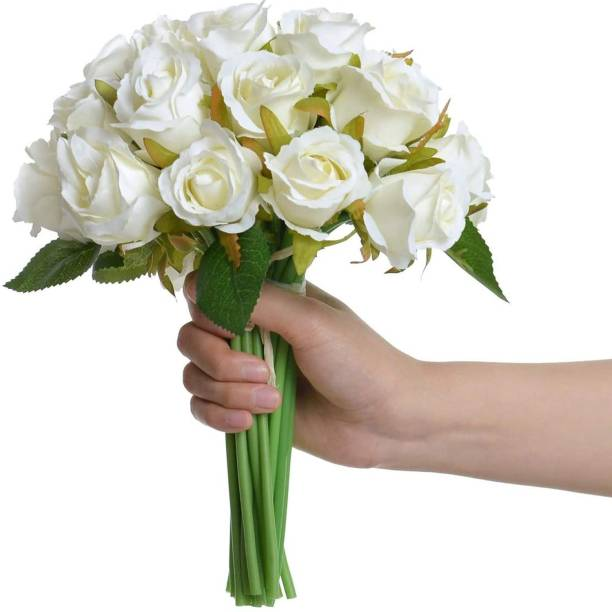 TIED RIBBONS Decorative White Color Artificial Flower Bunch For Home Decor White Rose Artificial Flower