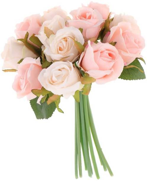 TIED RIBBONS Decorative Light Pink Color Artificial Flower Bunch For Home Décor Pink Rose Artificial Flower