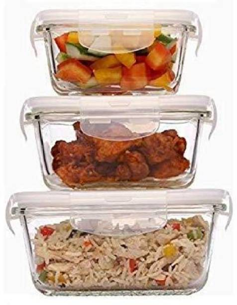 Redific Lock and Lock Klip clip & Store Glass Container Set of 3 Borosilicate Glass Vegetable Bowl, Glass Mixing Bowl and Square Dish with Lid Set, 3-Pieces, Transparent Borosilicate Glass Dessert Bowl (Clear, Pack of 3) (Lid Color Random) Borosilicate Glass Storage Bowl