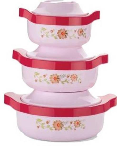 Ketsaal pack of 3 Pack of 3 Serve Casserole Set (2500 ml, 1500 ml, 800 ml) Pack of 3 Serve Casserole Set