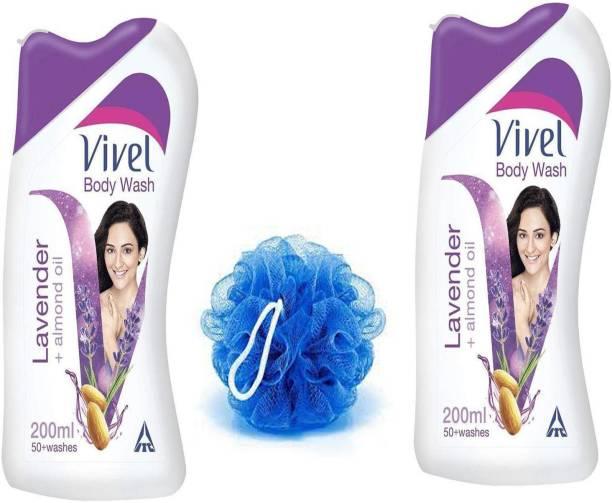 Vivel Lavender almond oil body wash + loofah 2X200 ml