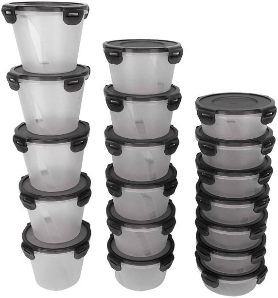 Cutting EDGE Set of 18   5x1000ml, 6X750ml, 7x500ml   Black   Nesterware Lock & Seal Containers for Dry Fruit, Biscuits, wafers, Snack, Foods, Fruits, Vegetables, Refrigerator Containers  - 1000 ml, 750 ml, 500 ml Polypropylene Utility Container