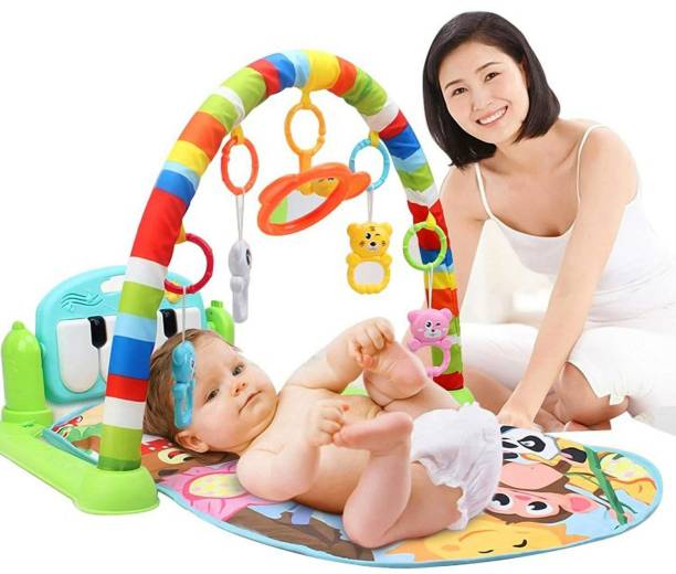 Toy Street Latest Baby's Piano Gym Kick and Play Multi-Function ABS High Grade Plastic Piano Baby Gym and Fitness Rack with Hanging Rattles, Music & Light.(up to 2 Year) (Multicolor)