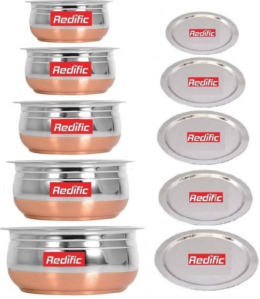 Redific Pack of 5 Stainless Steel Copper Bottom handi/Urli Set with Lid Cookware Set container set biryani new milk pot pan serving bowl Cookware Set (Stainless Steel, Copper, 5 - Piece) Handi 0.4 L, 0.65 L, 0.85 L, 1.2 L, 1.6 L with Lid (Stainless Steel, Non-stick,) Dinner Set