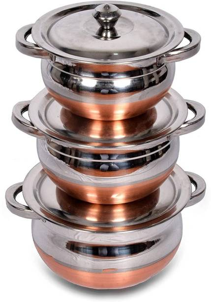 Redific Pack of 3 Stainless Steel 3 pcs export quality premium design luxurious copper bottom handi Cookware Set with lid and handle biryani milk pot pan serving bowl (Stainless Steel, Copper, 3 - Piece) Dinner Set