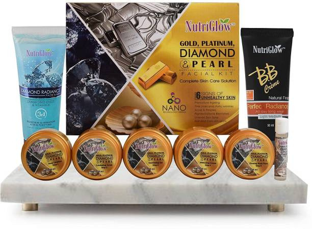 NutriGlow gold, platinum, diamond & pearl facial kit with BB Cream 1 and Diamond Radiance face wash 1