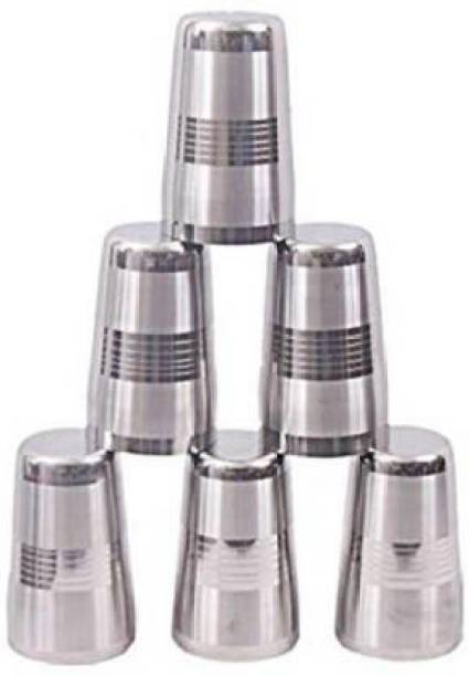 FINGERTIP (Pack of 6) (Pack of 6) Imperial Quality Stainless Steel Heavy Gauge Glass Set Glass Set (350 ml, Steel) Glass