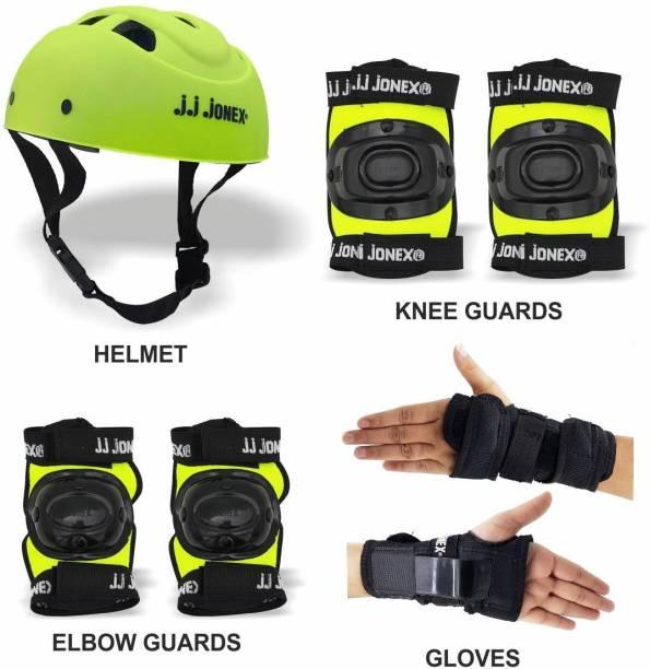 JONEX Skating Protective 1 Helmet,1 set Knee Cap,1 set Elbow Cap,1 Palm cover Skating Guard Combo