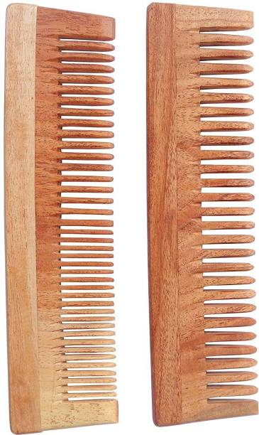 WOODYKRAFT Handmade Natural Pure Healthy Neem Wooden Comb Wide Tooth for Hair Growth,Anti-Dandruff Comb For Women And Men