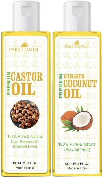 PARK DANIEL Premium Virgin Coconut oil and Castor Oil Combo pack of 2 bottles of 100 ml(200 ml) Hair Oil