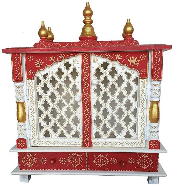 JODHPUR HERITAGE (Mandir) Temple for Home Pooja, Arti with Drawer Solid Wood Home Temple