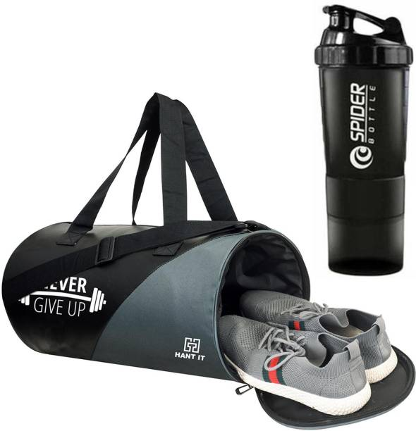 Hang It gym bag combo for men ll Grey Black gym bag and Black bottle ll gym bag bottle combo ll Gym bag with Shoe Compartment Gym & Fitness Kit