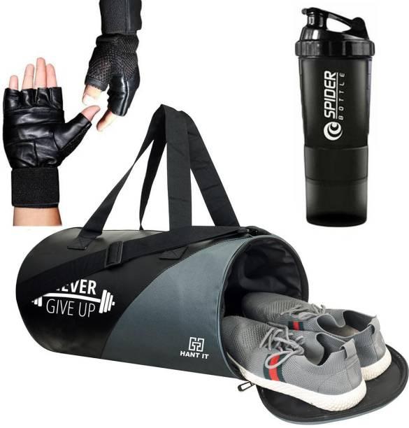 Hang It gym bag combo for men ll gym bag, bottle & Gloves ll gym kit for men ll Gym bag with Shoe Compartment Gym & Fitness Kit