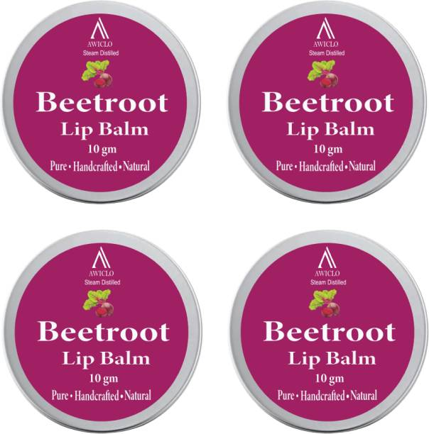Awiclo BEETROOT LIP BALM,MAKE LIPS SOFT & SUPPLE,ALL LIPS TYPES ORGANIC BEETROOT (Pack of 4) Beetroot