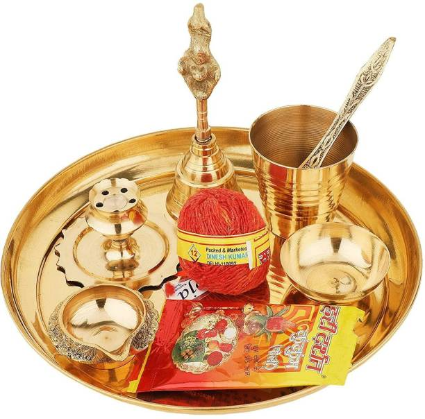 E handicrafts Brass Puja Thali set of 9 Brass