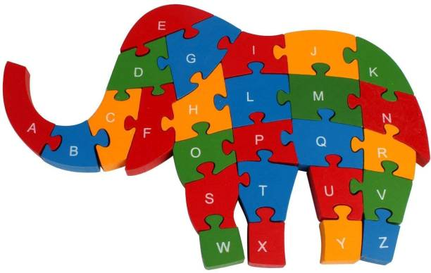 WOODYKRAFT wooden shaped coloured elephant puzzle with 26 alphabets(a-z) and numbers (1-26) for kids to learn letters and numbers - colour recognition toy.- Multi color