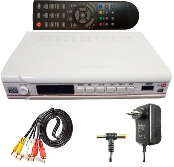 KL-TECH HD DTH (DIRECT TO HOME) DD FREE DISH SET TOP BOX (MPEG-4 )LIFE TIME FREE WITH REMOTE & AV LEAD, ADEPTER -PALASTIC Media Streaming Device