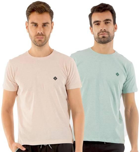 Almo Wear Solid Men Round Neck Pink, Green T-Shirt