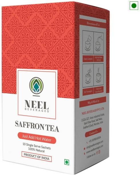 Neel Instant Tea Premix Saffron Sweetened 100% Natural 20 Single Sachets Instant Tea Powder Instant Tea Box