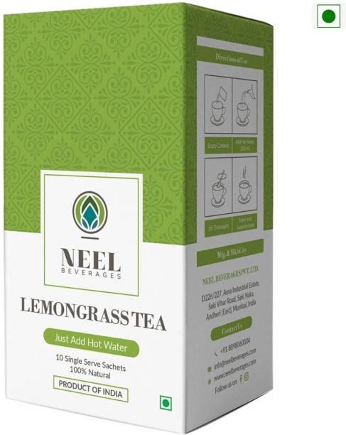 Neel Instant Tea Premix Lemongrass Sweetened 100% Natural 30 Single Sachets Instant Tea Powder Lemon Grass Instant Tea Box