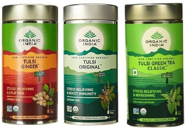ORGANIC INDIA Combo Of Tulsi Green Tea Classic,Tulsi Original & Tulsi Ginger-100g Green Tea Drum