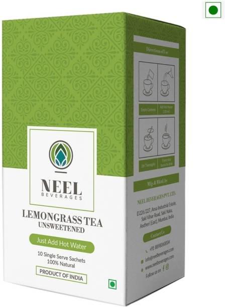 Neel Instant Tea Premix Lemongrass Unsweetened 100% Natural 40 Single Sachets Sugar Free Instant Tea Powder Lemon Grass Instant Tea Box