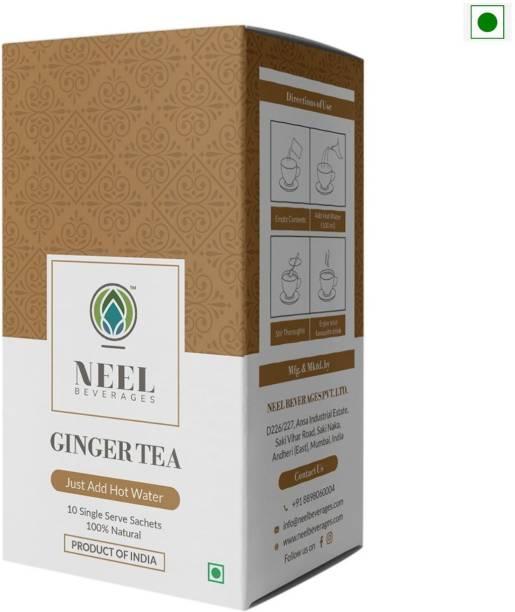 Neel Instant Tea Premix Ginger Sweetened 100% Natural 20 Single Sachets Instant Tea Powder Ginger Instant Tea Box