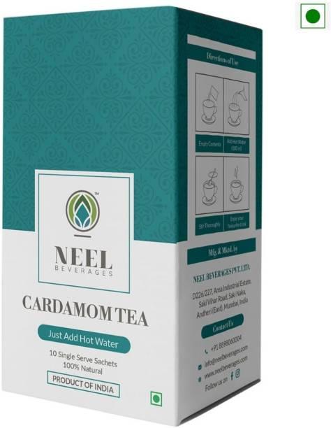 Neel Instant Tea Premix Elaichi (Cardamom) Sweetened 100% Natural 30 Single Sachets Instant Tea Powder 450gm Cardamom Instant Tea Box