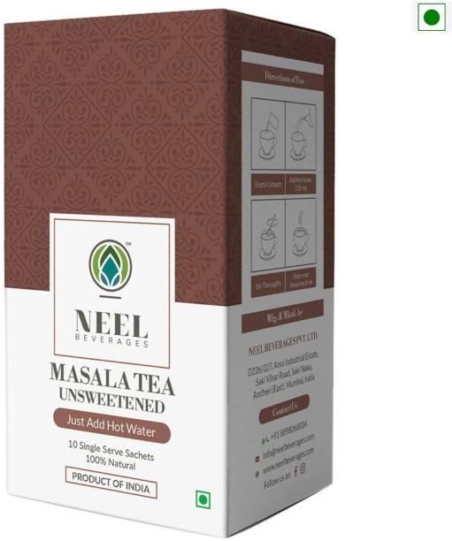 Neel Instant Tea Premix Masala Unsweetened 100% Natural 10 Single Sachets Sugar Free Instant Tea Powder Instant Tea Box