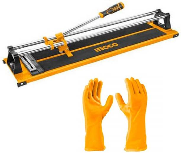 INGCO HTC04600 Industrial Tile Cutter Max Cutting Length: 600 mm, Max Cutting Thickness: 12mm with free PVC Gloves (Size: L) (HGVP02) Handheld Tile Cutter