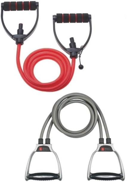Fitness India Toning Tube - (Combo of 2 Rope & 1 Rope) Pull Rope Ab Exerciser