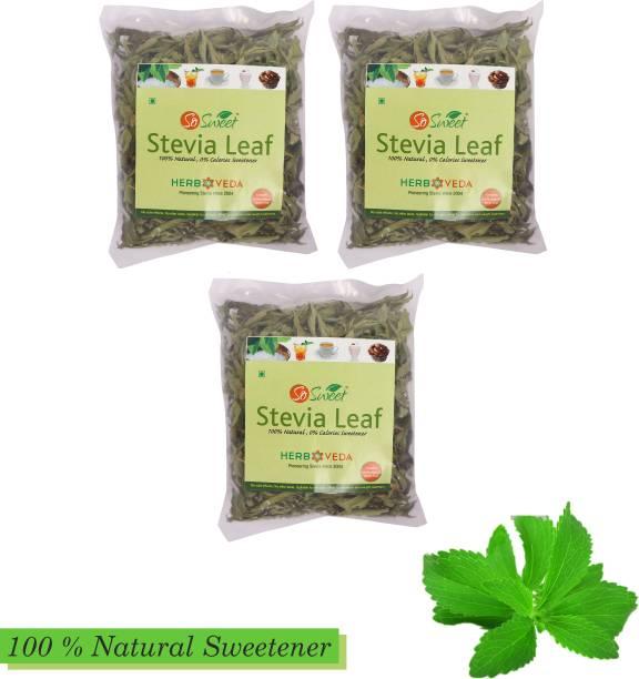 SO SWEET Stevia Leaves (Pack of 3) 25gm Each Sugarfree Zero Calorie Natural Sweetener