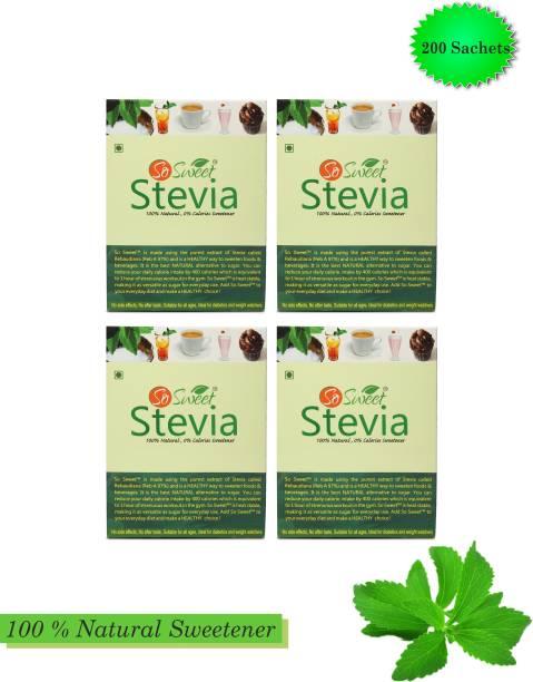 SO SWEET Stevia Sachets 50 Sachets Each (Pack of 4) Sugarfree Zero Calorie Natural Sweetener