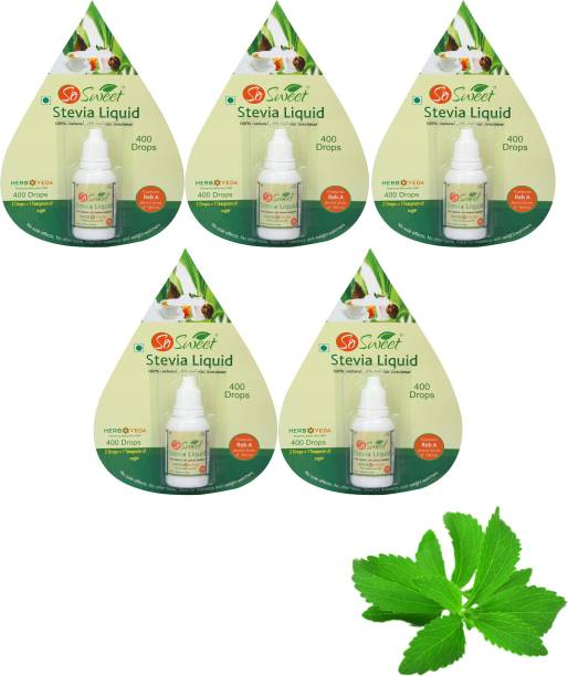 SO SWEET Stevia Liquid 2000 Drops (Pack of 5) Sugarfree Zero Calorie Natural Sweetener