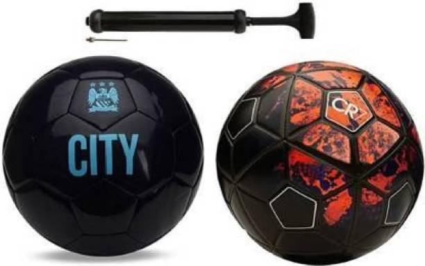 RASCO CITY BLACK AND CR7 RED WITH AIR PUMP Football - Size: 5