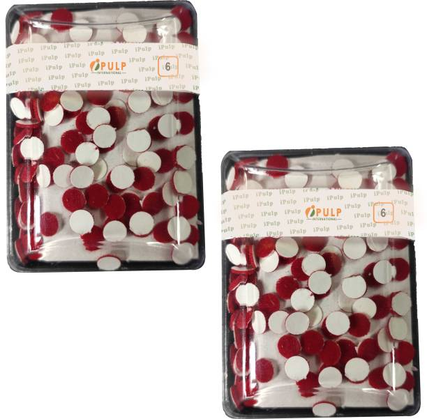 iPulp International Indian Bindi Store Plain Bindi (Size 6) / Red Bindi / Sticker Bindi / Kumkum / Velvet Bindi for Girls and Women (Pack of 2) Forehead Red Bindis