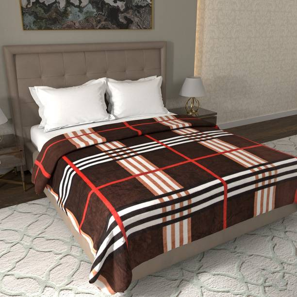 Flipkart Perfect Homes Checkered Double Coral Blanket
