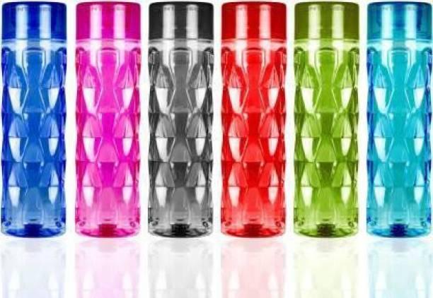 PRAHARD Plastic Water Bottle Set of 6 For Fridge Kids School College Office BPA Free 1 L 1000 ml Bottle