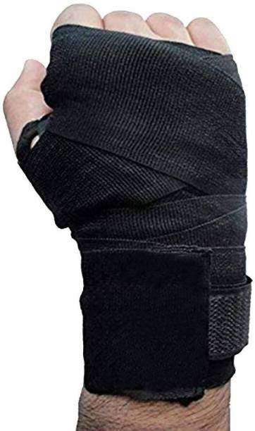 FIT & FITNESS Canvas Boxing Hand Wraps, 108-inch Black Boxing Hand Wrap (Black, 118 inch) Boxing Hand Wrap